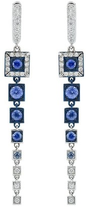 MARIANI 18kt white gold Erte blue sapphire and diamond drop earrings