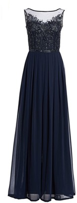 Theia Embellished Tulle & Chiffon Georgette Jumpsuit