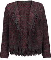 Maje Fringed metallic tweed cardigan