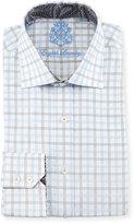 English Laundry Windowpane-Check Woven Dress Shirt, Gray/Blue