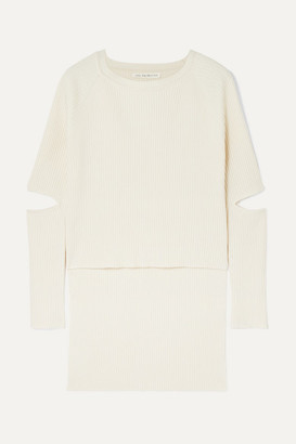 Live The Process Cutout Ribbed-knit Sweater - Ivory