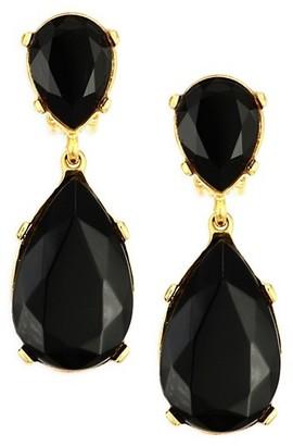 Kenneth Jay Lane Black Crystal Double-Teardrop Clip-On Earrings