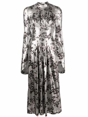Paco Rabanne High Neck Floral Lurex Midi Dress