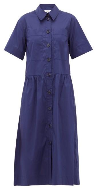 Sea Clara Dropped-waist Cotton-blend Shirtdress - Womens - Blue