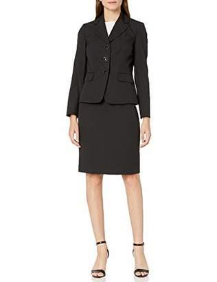 Le Suit Women's 3 Button Notch Collar Diamond Jacquard Skirt Suit