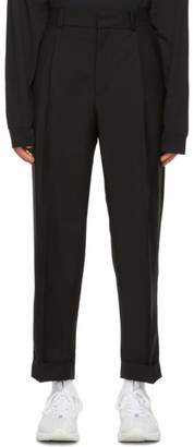 Acne Studios Black Pleated Cropped Trousers