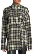 Helmut Lang Safety-Pin Snap-Front Plaid Cotton Shirt