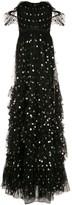 Marchesa Off-Shoulder Polka Dot Print Gown