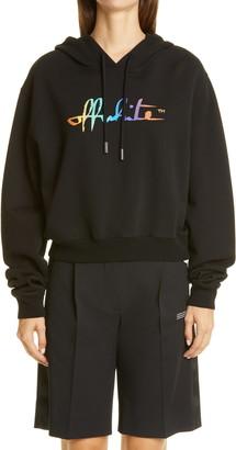 Off-White Rainbow Script Logo Crop Cotton Hoodie