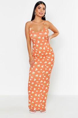 boohoo Petite Large Scale Floral Strappy Maxi