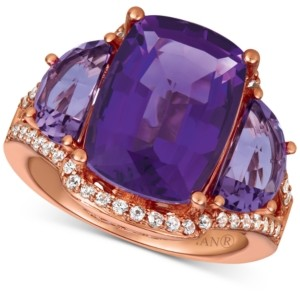 LeVian Le Vian Amethyst (7-3/8 ct. t.w.) & White Sapphire (1/4 ct. t.w.) Ring in 14k Rose Gold