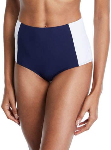 Tory Burch Lipsi High-Waist Colorblock Bikini Swim Bottoms