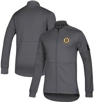 adidas Men's Gray Boston Bruins Game Mode Full-Zip Bomber Jacket