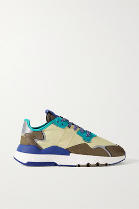 adidas Nite Jogger Ripstop, Mesh, Suede And Leather Sneakers - Cream