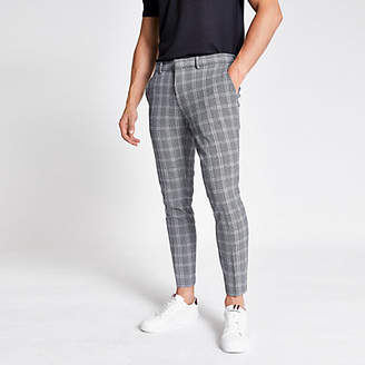 River Island Navy check super skinny cropped trousers