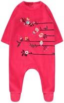 Catimini Girls Berry Pink Velour Babygrow