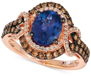 LeVian Le Vian Blueberry Tanzanite (1-1/2 ct. t.w.) & Diamond (3/4 ct. t.w.) Statement Ring in 14k Rose Gold