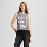 Fifth Sun Women's Can't Adult Today Muscle Tank Heather Gray Juniors')