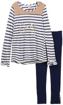 Juicy Couture Faux Suede Trim Hi-Lo Striped Tunic & Stretch Ponte Leggings Set (Little Girls)