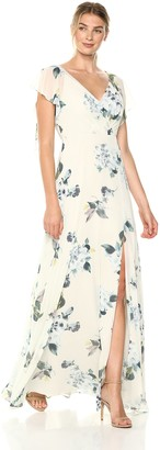 Jenny Yoo Women's Alanna Flutter Sleeve Open Back Long Floral Chiffon Gown