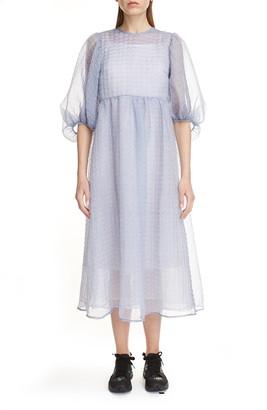 Cecilie Bahnsen Karmen Sheer Silk Blend Midi Dress