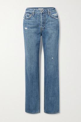 GRLFRND Mica Distressed High-rise Straight-leg Jeans - Mid denim