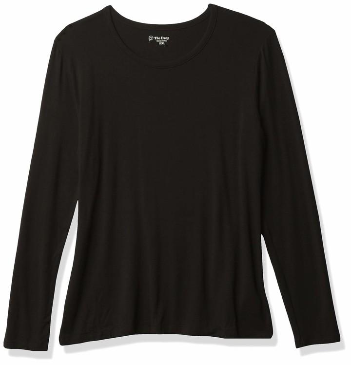 Brand The Drop Ashley Long Sleeve Scoop Neck Drapey T-Shirt