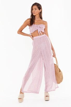Nasty Gal Womens Floral Tie Bandeau & Split Trouser Beach Co-Ord - Purple - 8