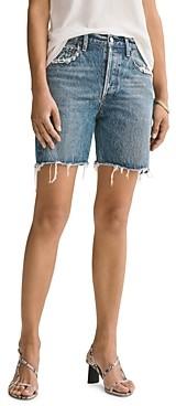 AGOLDE Rumi Cotton Frayed Denim Shorts in Precision