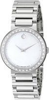 Movado Women's 0606421 Concerto Stainless-Steel and Diamonds White Dial Watch