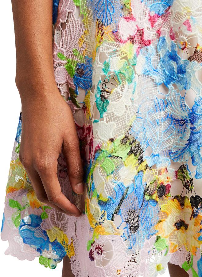 Thumbnail for your product : Monique Lhuillier Summer Bouquet Printed Lace Dress