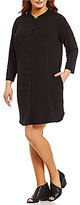 Eileen Fisher Plus Mandarin Collar Long Sleeve Dress