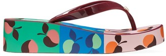 Kate Spade Rio Fruit-Print Platform Wedge Flip Flops