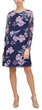 Jessica Howard Floral-Print Smocked-Cuff A-Line Dress