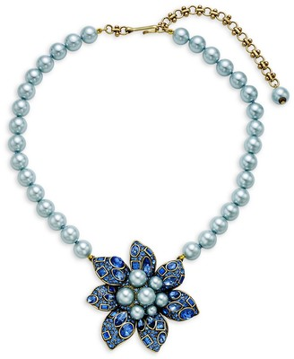 Heidi Daus Faux Pearl Crystal Bold Flower Pendant Necklace