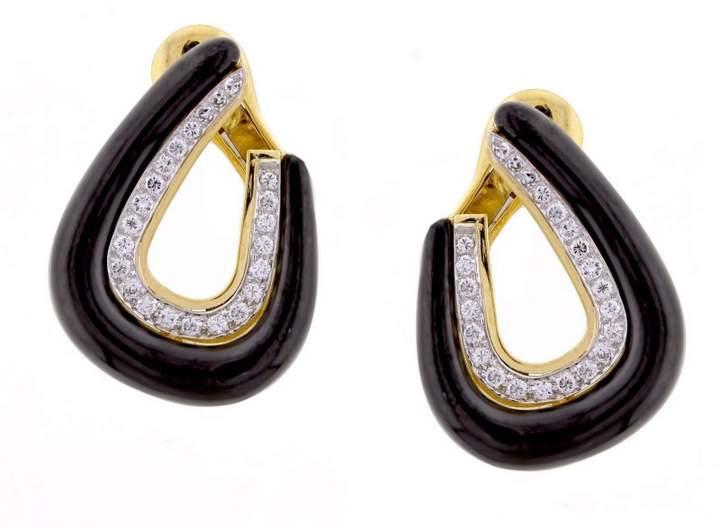 David Webb Platinum, 18K Yellow Gold and Enamel with Diamond Earrings