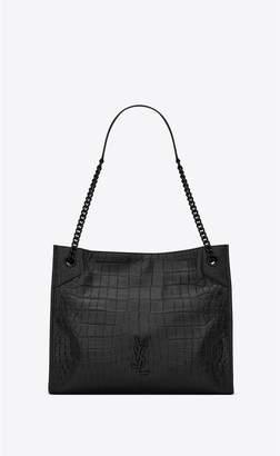 Saint Laurent Niki Medium Shopping Bag In Crocodile-Embossed Leather