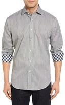 Thomas Dean Classic Fit Stripe Jacquard Sport Shirt
