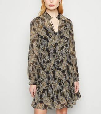 New Look Paisley Chiffon Smock Dress