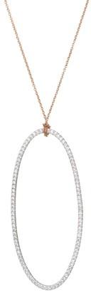ginette_ny 18K Rose Gold & White Diamond Jumbo Ellipse Pendant Necklace