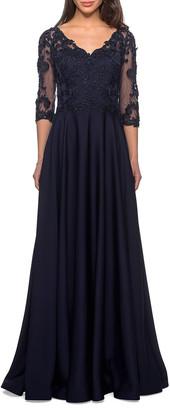 La Femme Satin A-Line Lace-Top Gown