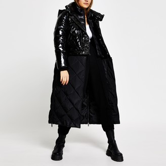 River Island Womens Black patent quilted long line puffer coat