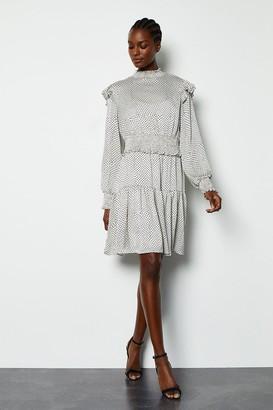 Karen Millen Spot Printed Ruffle Long Sleeve Short Dress