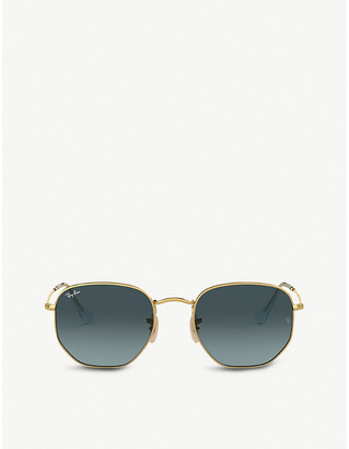 Ray-Ban RB3548N gold-tone metal and glass hexagonal sunglasses