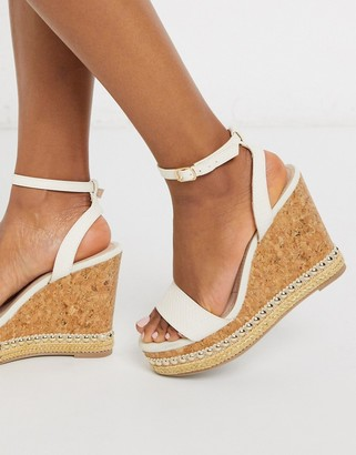 Miss KG pip glam wedges in white