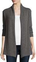 Neiman Marcus Cashmere Basic Open-Front Cardigan, Gray