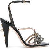 Gucci crystal hand applique embellished sandals - women - Leather/glass - 36