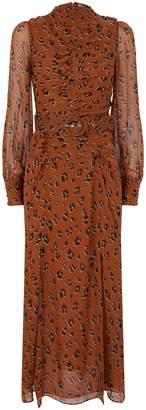 Nicholas Silk Leopard Print Belted Dress