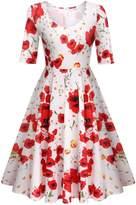 Meaneor Women's Cute Pleated Swing Dress Flower Print Knee Length A Line Dress,/XL