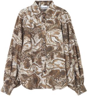 Ganni Printed Cotton Poplin Shirt - 34